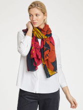 Foulard bambou tons rouge orange