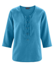 Blouse coton bio chanvre naturel bleue