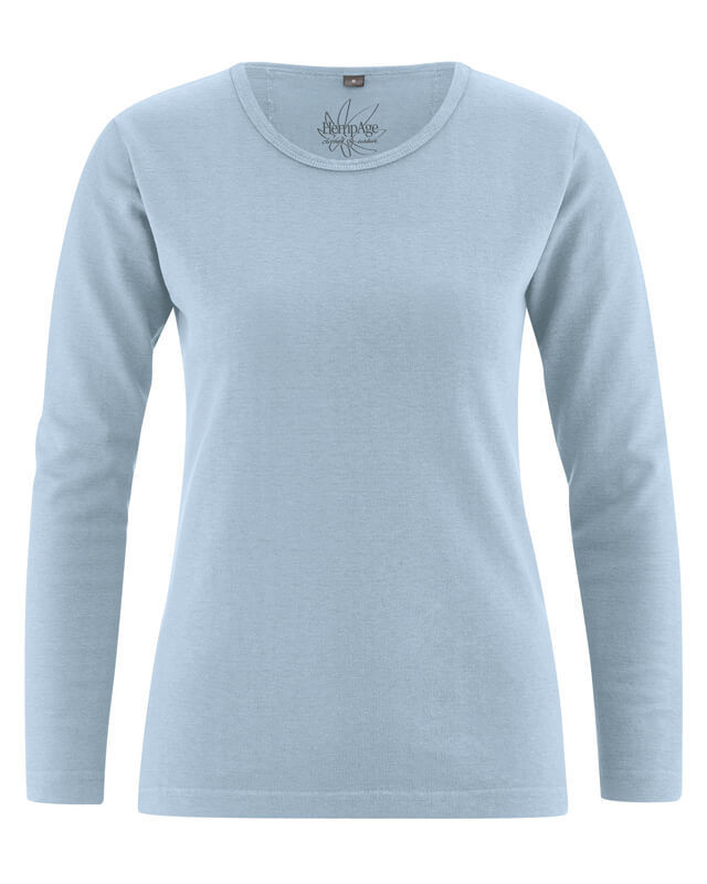 1030a99a0d7 T-shirt manches longues femme en chanvre bleu clair. T-shirt bio femme ...