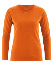 T-shirt chanvre coton bio femme couleur orange potiron