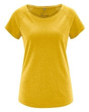 T-shirt jaune curry en chanvre et coton bio