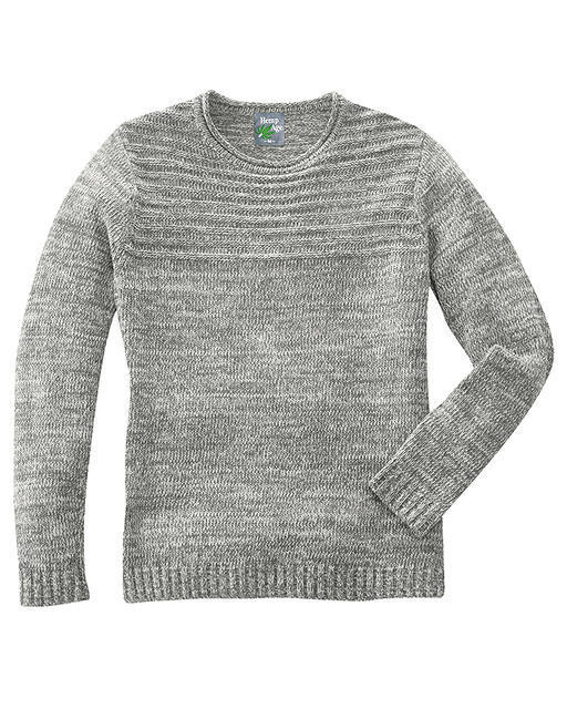 Gros pull, homme, maille structurée, couleur mélange gris, Hempage, col rond afa05c3790c3