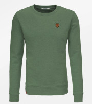 Sweat coton bio homme badge vélo couleur olive