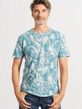 T-shirt chanvre coton bio imprimé jungle bleu