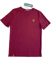 T-shirt coton bio badge vélo bordeaux